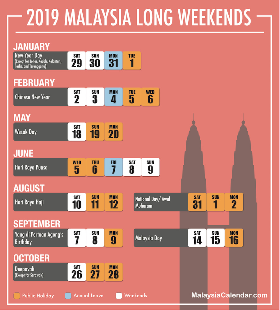 here are the long weekends for year 2019
